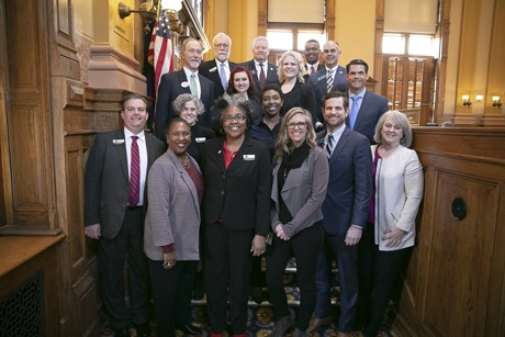 Group photo. Third row, left to right: Lanier Tech President, Dr. Ray Perren, Katie Ballard, Lanier Tech Dean of Adult Education Tiffany Lofton, and Lt. Governor Geoff Duncan.